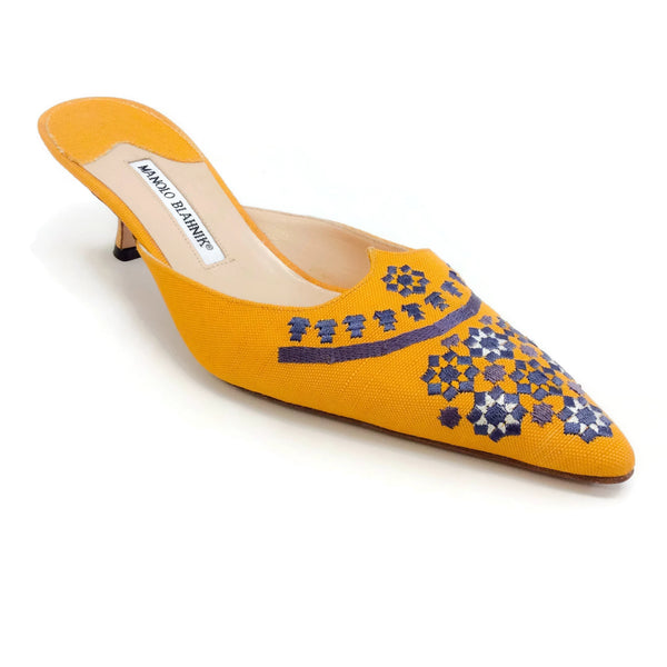Manolo Blahnik Yellow Canvas Embroidered Mules/Slides