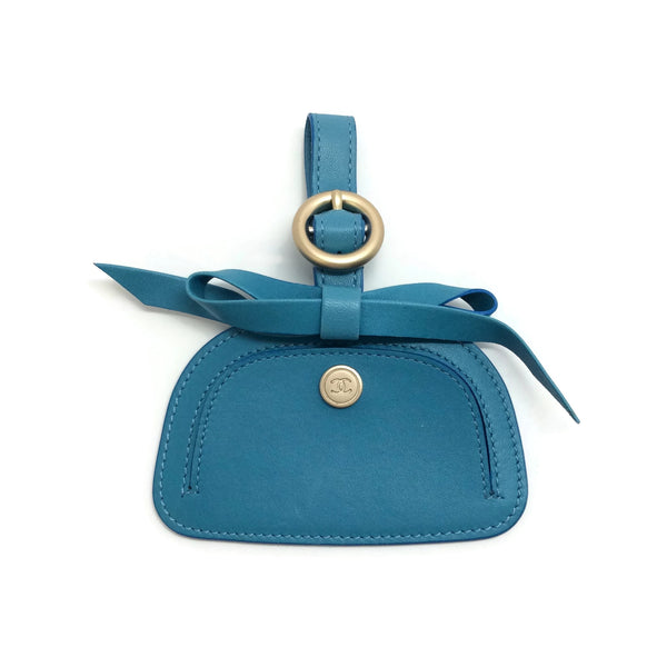 Chanel Teal Leather Luggage Tag