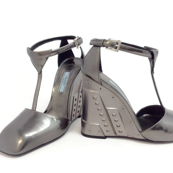 Prada Gunmetal With Ankle Strap Wedges