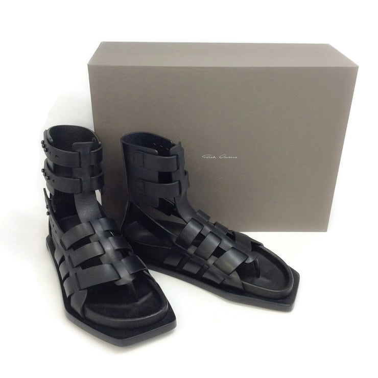 Rick Owens Black Flat Gladiator Sandals
