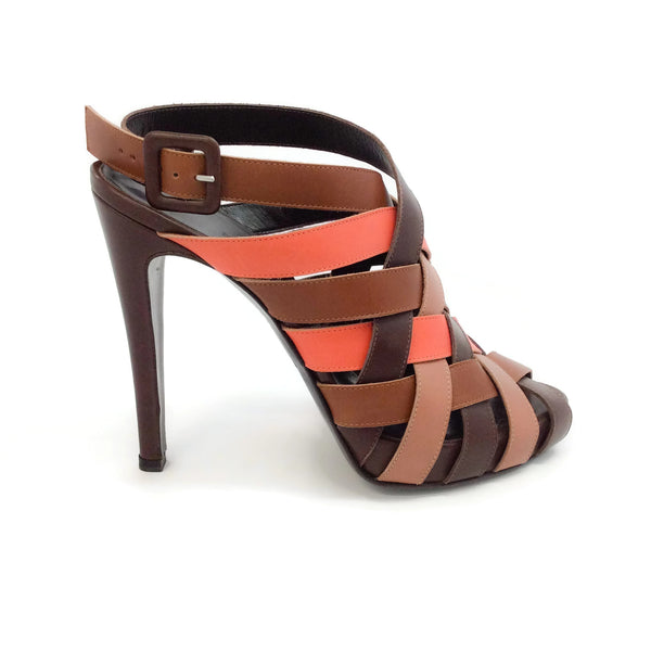 Hermès Brown / Orange Woven Leather Platform Sandals