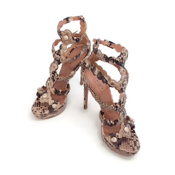 ALAÏA Tan / Brown Python Sandals
