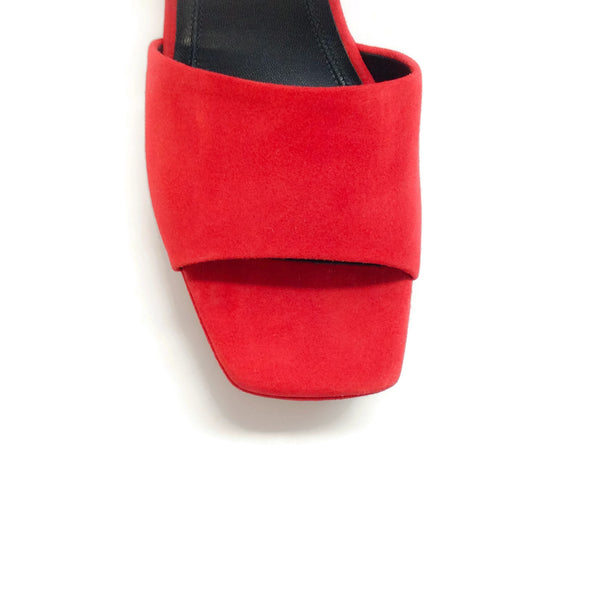 Céline Red Platform Suede Sandals