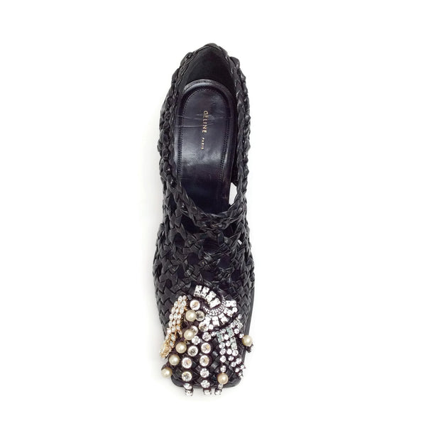 Céline Black Patent Woven with Jewel Pumps