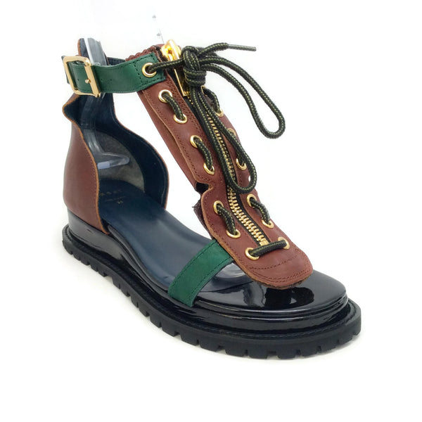 sacai Brown / Green Zip Tie Sandals