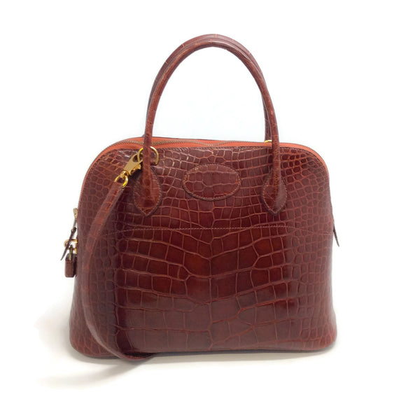1995 Hermès Bolide 31 Brown Alligator Skin Leather Satchel