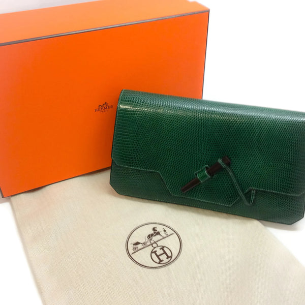 Hermès 1977 Green Lizard Skin Leather Clutch