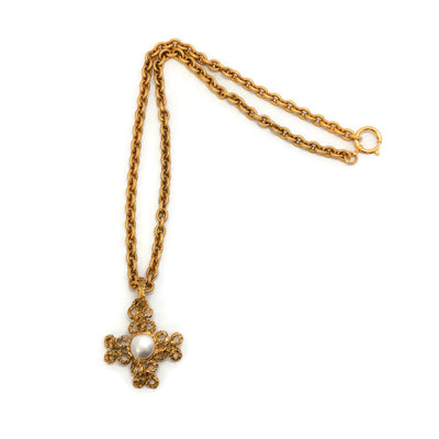 Chanel Gold Vintage 1993 Cross with Pearl Necklace