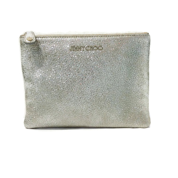 Jimmy Choo Metallic Silver Leather Clutch / Pouch