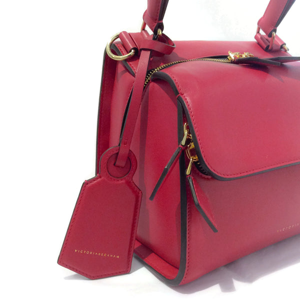 Victoria Beckham Mini Full Moon Red Leather Shoulder Bag