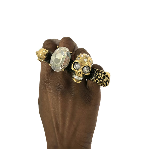 Alexander McQueen Gold Skull and Crystal Knuckle Ring