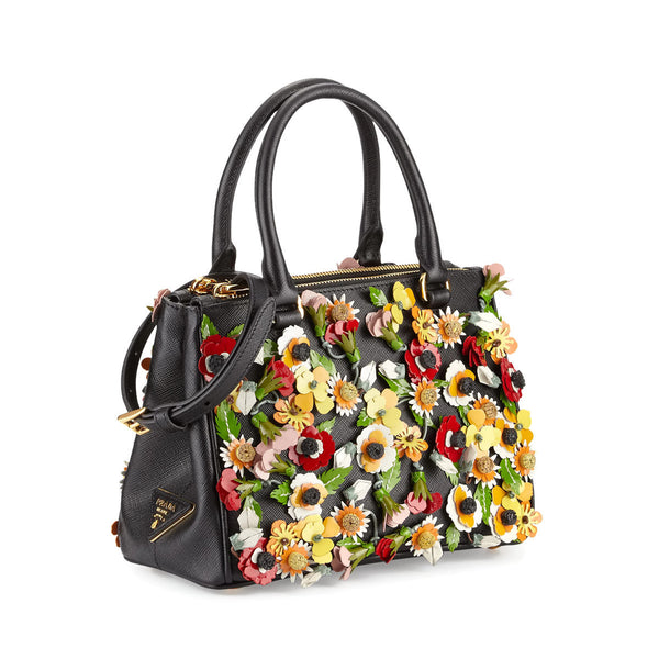 Prada Double Galleria Saffiano Garden Small Double-zip Tote Black W/ Floral Applique