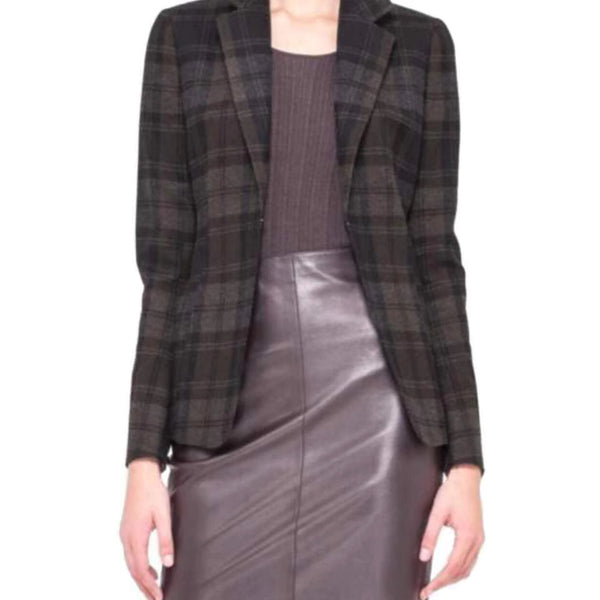 Akris Black/Brown/Gray Pastilla Blazer