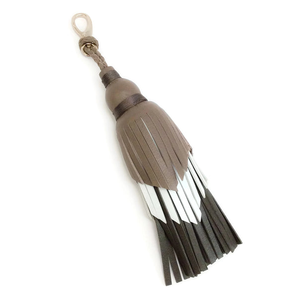 Anya Hindmarch Gray Three Tiered Tassel Key Ring