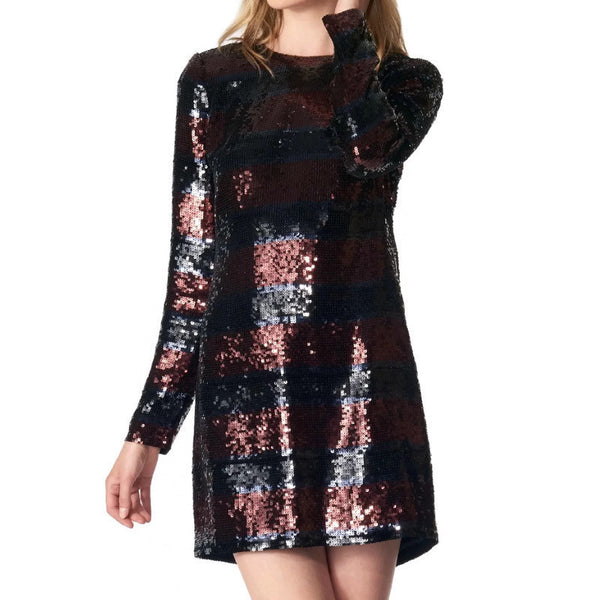 Veronica Beard Red/Black Sequins Breakers Dress