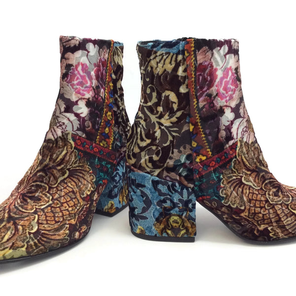 STRATEGIA Patchwork Multi Velvet Ankle Boots/Booties