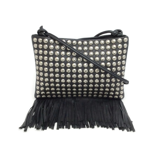 Sonia Rykiel Silver Toned Studded Fringe Black Leather Cross Body Bag