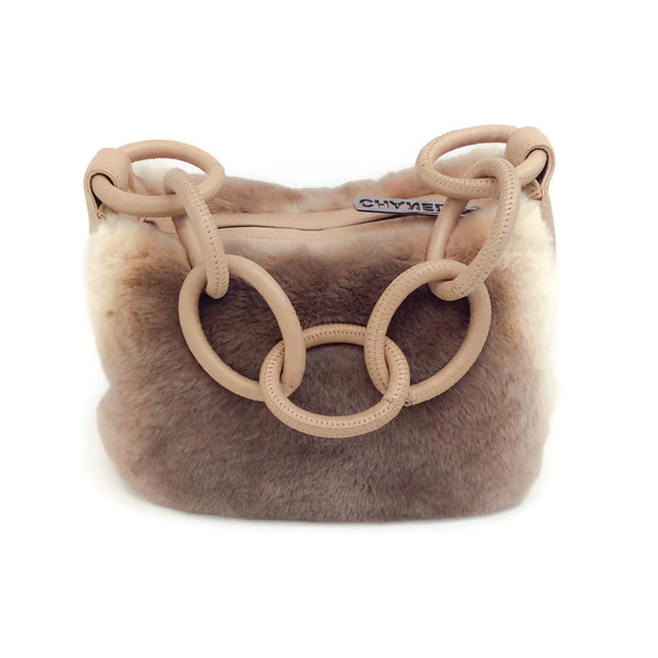 Chunky Leather Chain Tan / Ivory Rex Rabbit Shoulder Bag