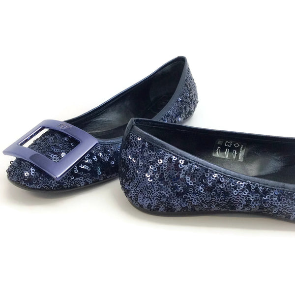 Roger Vivier Navy Blue Gommette Buckle Sequined Flats