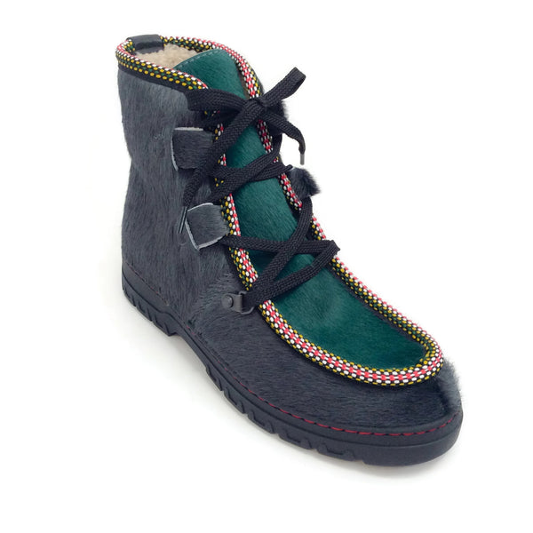 Penelope Chilvers Slate Green Moccasin Pony Skin Lace Up Boots
