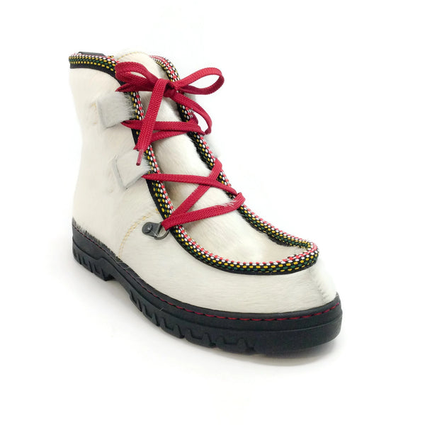 Penelope Chilvers Winter White Moccasin Pony Skin Lace Up Boots