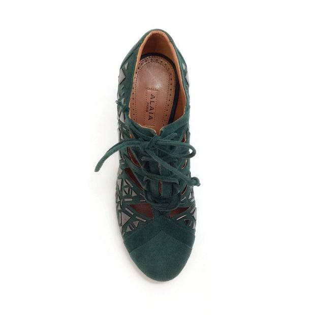 ALAÏA Teal Suede Lace Up Pumps with Studs
