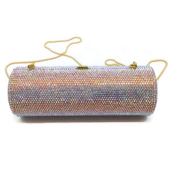 Judith Leiber Roll Minaudiere Multicolored / Gold Crystal Shoulder Bag