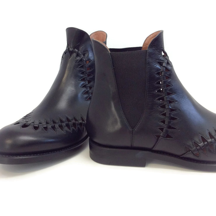 ALAÏA Black Perforated Derby Boots