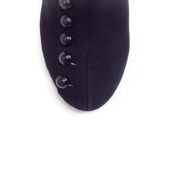 ALAÏA Black Suede Boots with Buttons