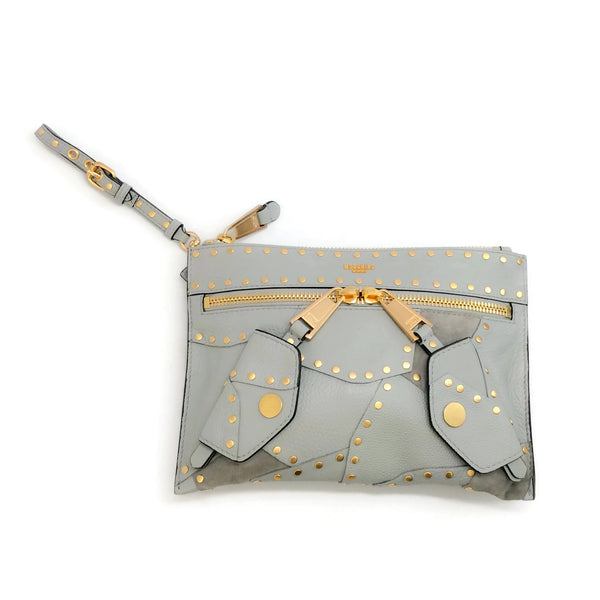 Moschino Patch Studded Gray Leather Clutch
