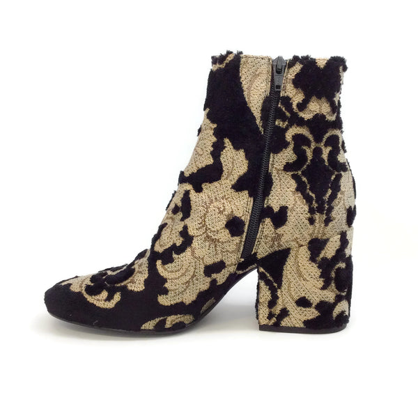 STRATEGIA Black / Gold Brocade Boots