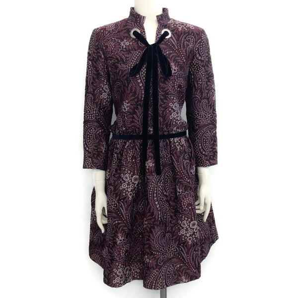 SUNO Purple Brocade with Navy Velvet Casual Dress