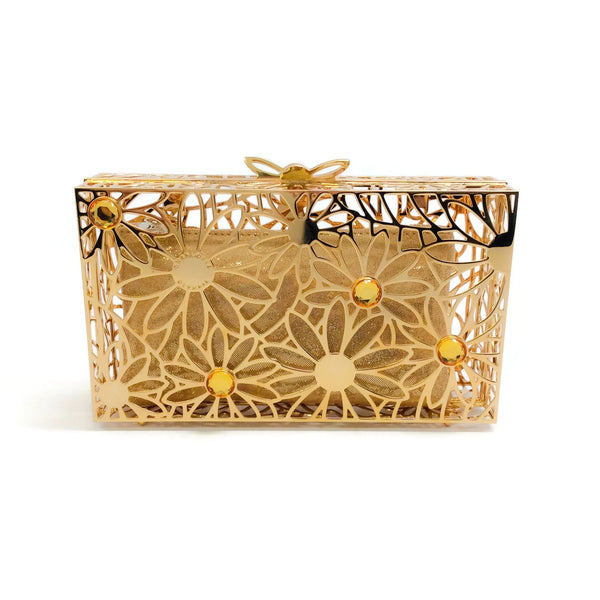 Charlotte Olympia Pandora In Bloom Minaudiere Gold Metal Clutch