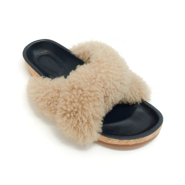 Chloé Fawn Shearling Slide Sandals