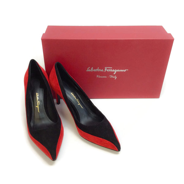 Salvatore Ferragamo Red / Black Giglio Pumps