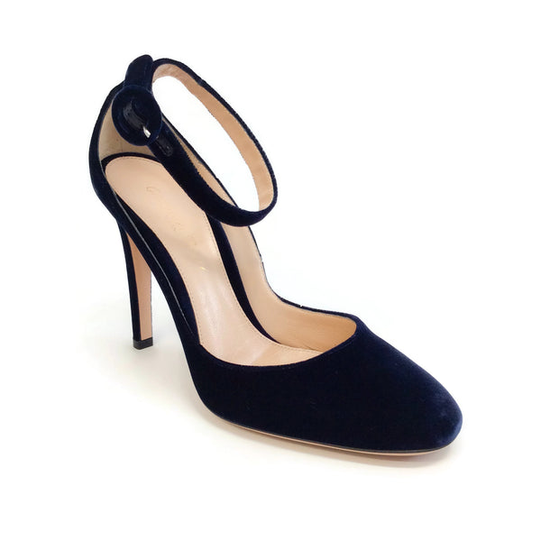 Gianvito Rossi Denim Velvet Virna Pumps