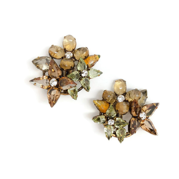 iRADJ Moini Multicolor Floral Gemstone and Crystal Earrings