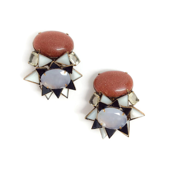 iRADJ Moini Multicolor Mother Of Pearl and Quartz Earrings
