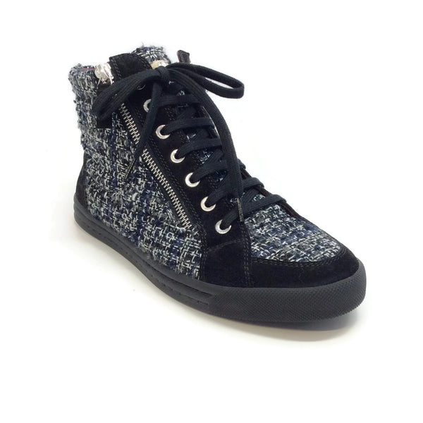 Chanel Black / White Tweed Suede High Top Sneakers