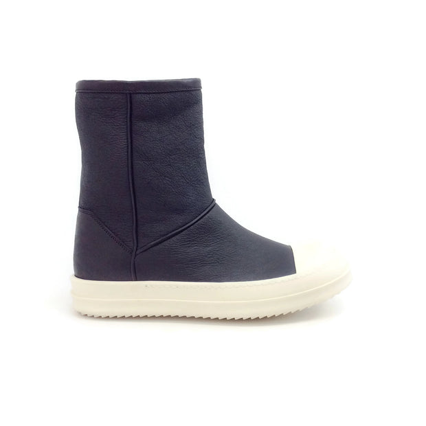 Rick Owens Black Shearling Boat Sneaker Boots