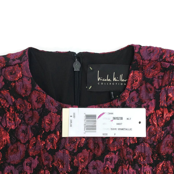 Nicole Miller Burgundy Falling Roses Dress