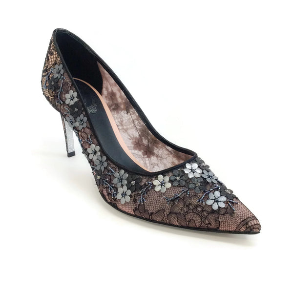 Rene Caovilla Black / Nude Decollete Applique Pumps