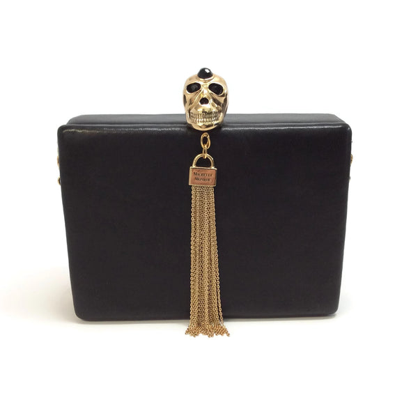Michelle Monroe Swarovski Skull Black Leather Minaudiere