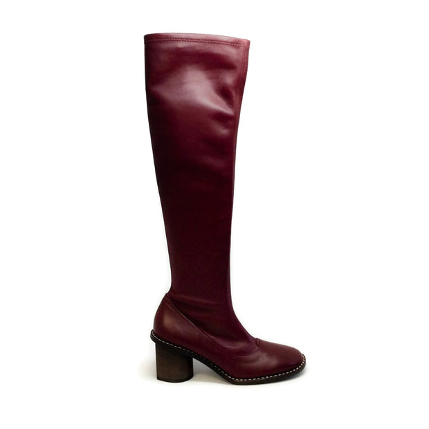 Céline Oxblood Stacked Heel Boots/Booties
