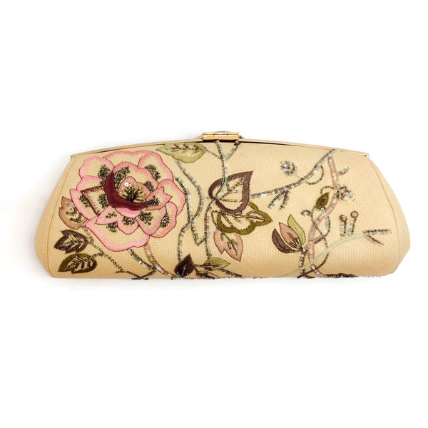 Judith Leiber Straw And Floral Embroidered Clutch