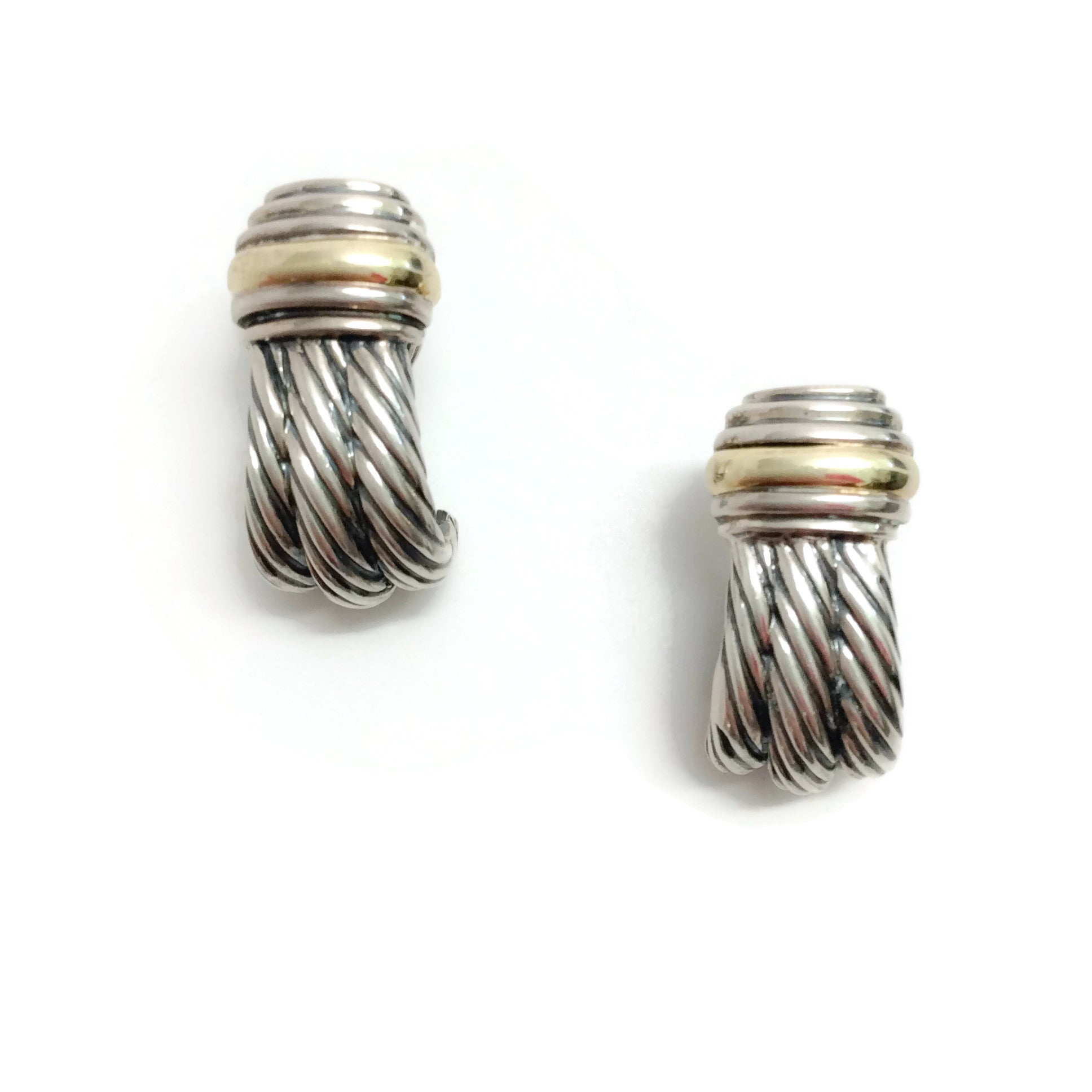 David Yurman Silver / Gold Shrimp Huggie Earrings