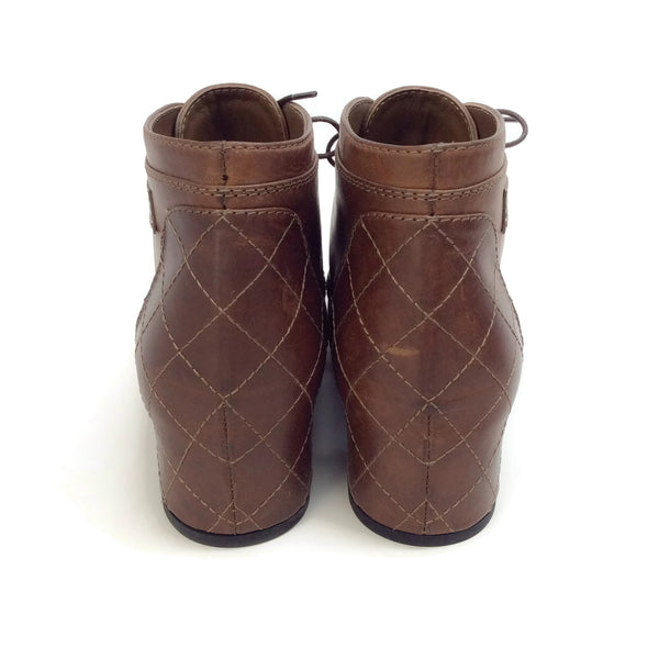 Chanel Brown Leather Quilted Boots