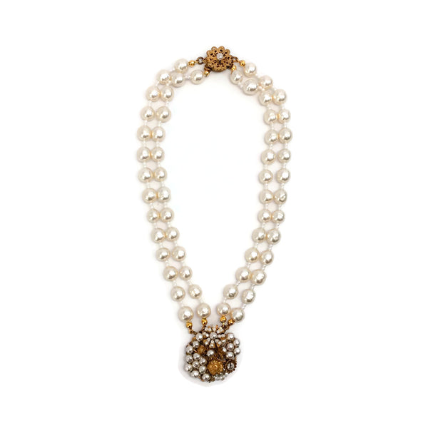 Miriam Haskell Pearl / Gold Choker with Flowers Necklace
