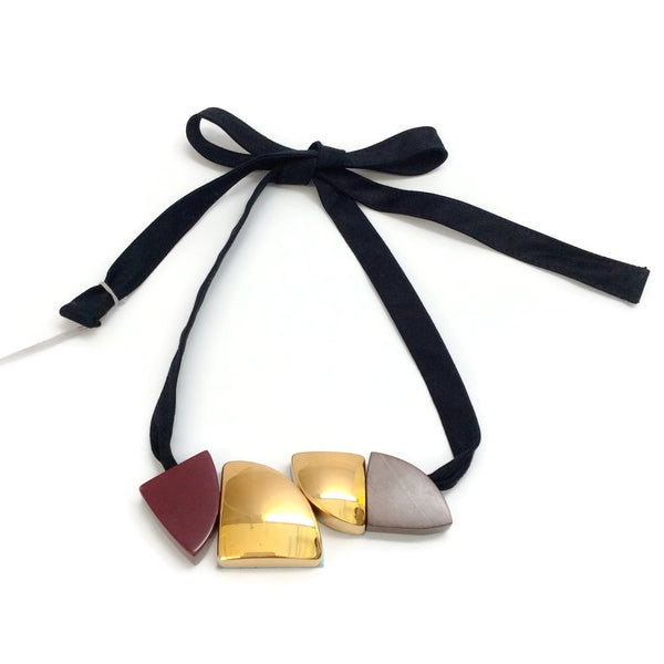 Marni Black Cherry Cotton Tie with Wood Necklace