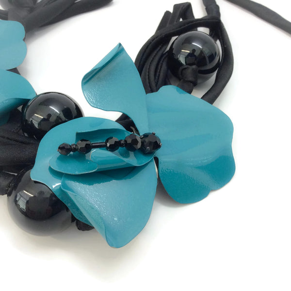 Lanvin Black / Teal With Ribbon Necklace